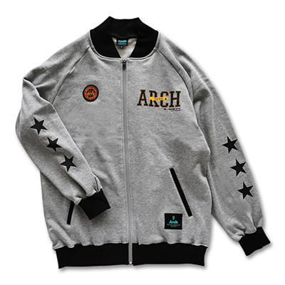 stitch logo sweatjacket Arch gray 1